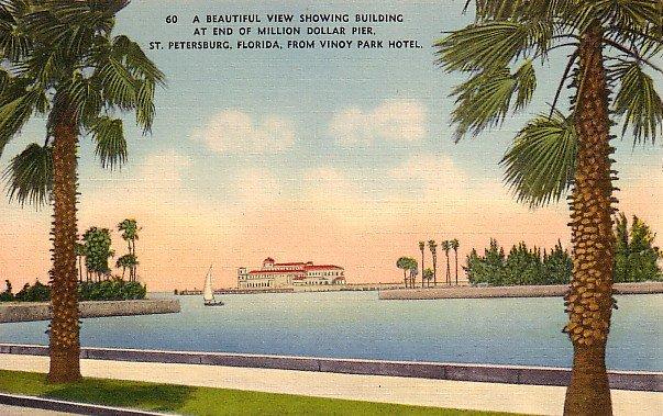 Million Dollar Pier Building in St. Petersburg Florida FL Linen Postcard - 0065