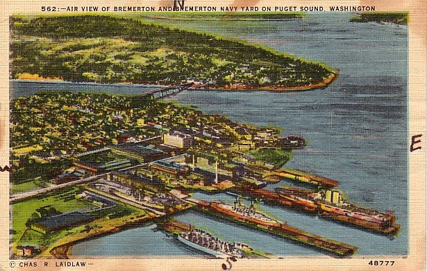 Bremerton Navy Yard on Puget Sound in Washington WA Linen Postcard - 0073
