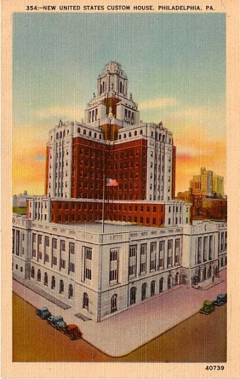 New United States Custom House in Philadelphia, Pennsylvania PA  Linen Postcard - 0074