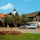 Tour Bus in Front of the Frankenmuth Bavarian Inn in Michigan, Chrome Postcard - 0080
