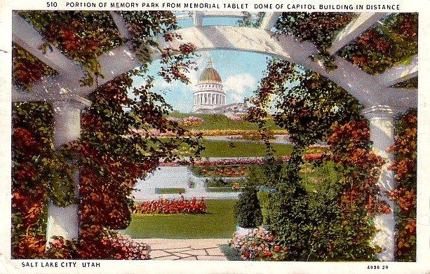 Memory Park from Memorial Tablet in Salt Lake City Utah UT Curt Teich Postcard - 0085