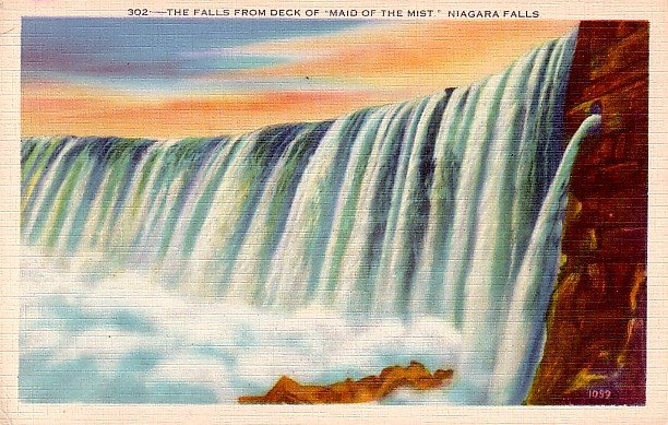 View of Niagara Falls from the Deck of Maid of the Mist  in New York NY Linen Postcard - 0087