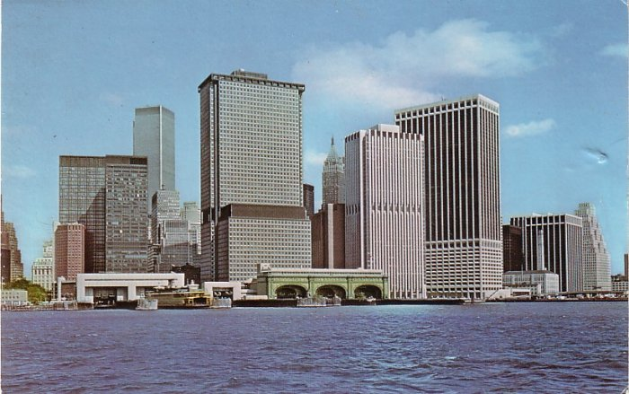 Lower Manhattan in New York City NY, Curt Teich Chrome Postcard - 0103