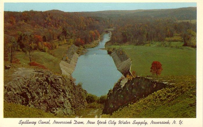 Spillway Canal, Neversink Dam in Neversink New York NY Curt Teich 1957 Chrome Postcard - 0110