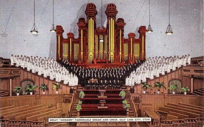 Great Mormon Tabernacle Organ and Choir in Salt Lake City Utah Linen Postcard - 0132