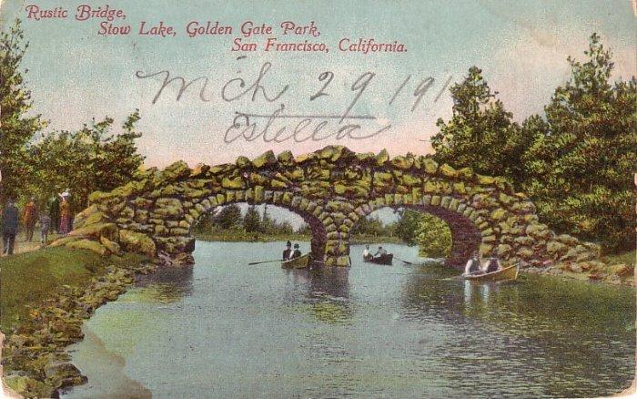 Rustic Bridge over Stow Lake in Golden Gate Park San Francisco California CA Vintage Postcard - 0135