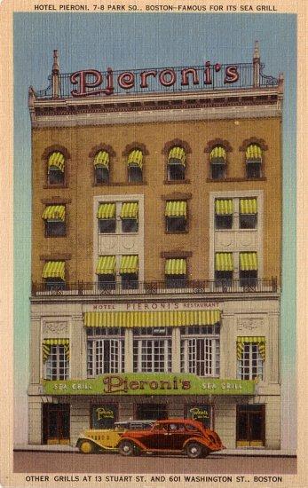 Hotel Pieroni Famous Sea Food Grill in Boston Massachusetts MA Linen Postcard - 0139