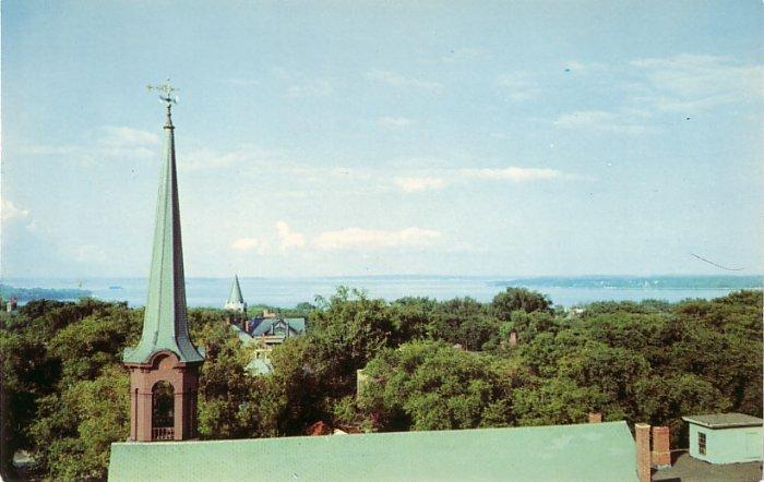 View of Casco Bay in Portland Maine ME Chrome Postcard - 0145