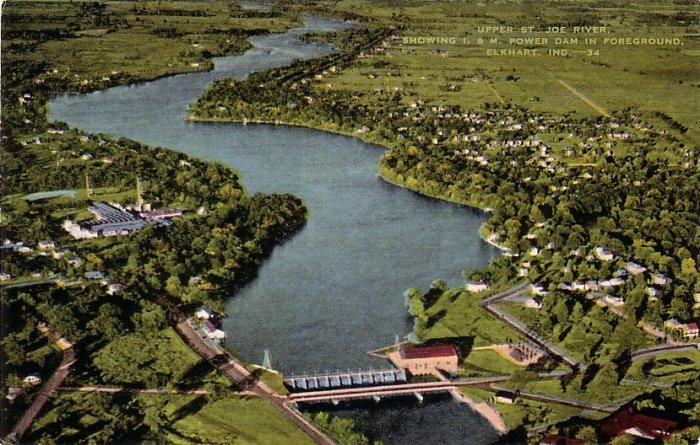 Upper St. Joe River  and Power Dam in Elkhart Indiana IN Linen Postcard - 0149