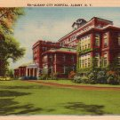 Albany City Hospital in New York NY,  Mid Century Linen Postcard - 0150