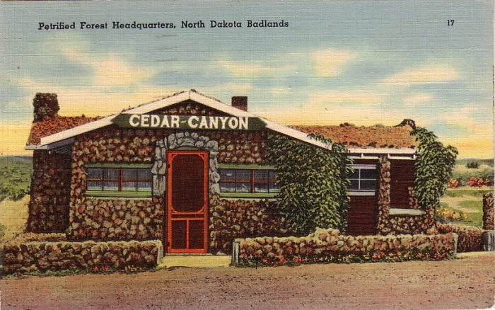 Petrified Forest Headquarters in the North Dakota Badlands, 1942 Linen Postcard - 0197