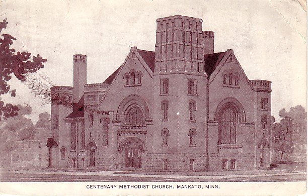 Centenary Methodist Church in Mankato Minnesota MN 1908 Vintage Postcard - 0216