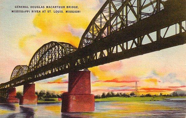 General Douglas MacArthur Bridge at St. Louis Missouri MO Linen Postcard - 0280