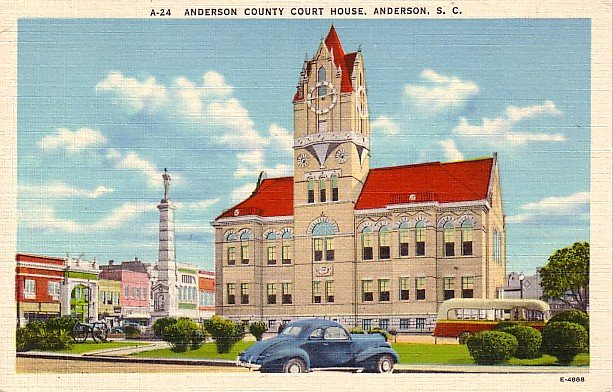 Anderson County Court House in Anderson South Carolina SC Linen Postcard - 0311