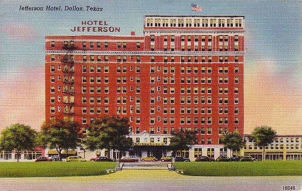 Jefferson Hotel in Dallas Texas TX Linen Postcard - 0313