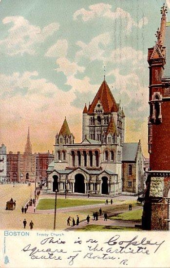 Trinity Church in Boston Massachusetts MA, Raphael Tuck & Sons Vintage Postcard - 0374