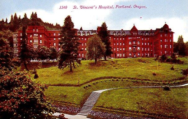 St. Vincent's Hospital in Portland Oregon OR Vintage Postcard - 0415