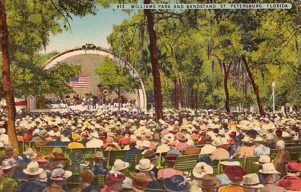 Williams Park and Bandstand in St. Petersburg Florida FL Linen Postcard - 0464