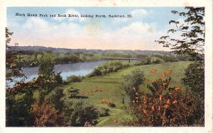 Black Hawk Park and Rock river in Rockford Illinois IL Vintage Postcard - 0469
