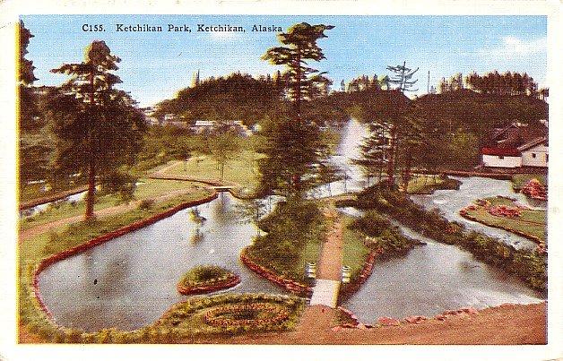 Ketchikan Park  in Alaska AK Mid Century Linen Postcard - 0531
