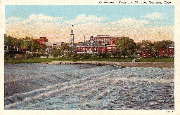 Dam and Marietta Skyline in Ohio OH, Curt Teich Linen Postcard - 0583