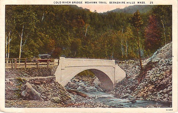 Cold River Bridge on the Mohawk Trail in Berkshire Hills, Massachusetts MA Postcard - 0589