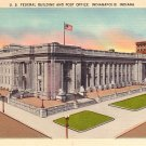 Federal Building and Post Office in Indianapolis Indiana IN Linen Postcard - 0603