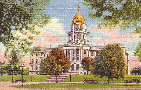 State Capitol of Denver Colorado CO Curt Teich 1934 Linen Postcard - 0612