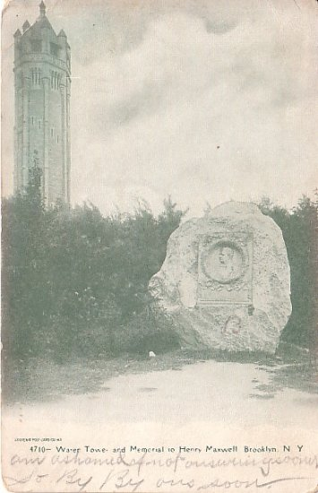 Water Tower and Memorial to Henry Maxwell in Brooklyn New York NY Postcard - 0650
