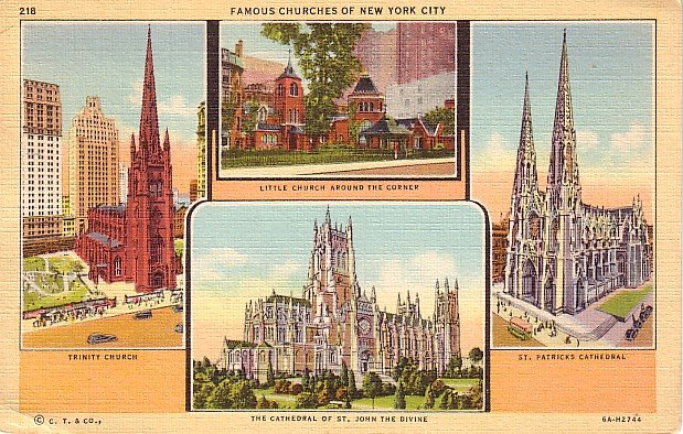 Famous Churches of New York City NY 1936 Curt Teich Linen Postcard - 0673