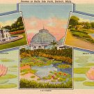 Scenes at Belle Isle Park in Detroit Michigan MI 1937 Curt Teich Postcard - 0683