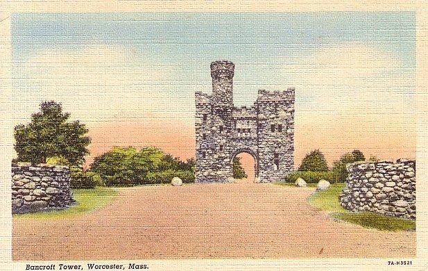 Bancroft Tower in Worcester Massachusetts MA 1937 Curt Teich Linen Postcard - 0684