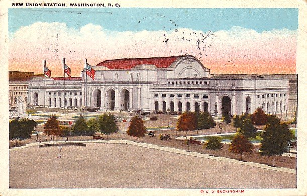 DC Washington New Union Rail Road Station 1928 Vintage Postcard - 0703