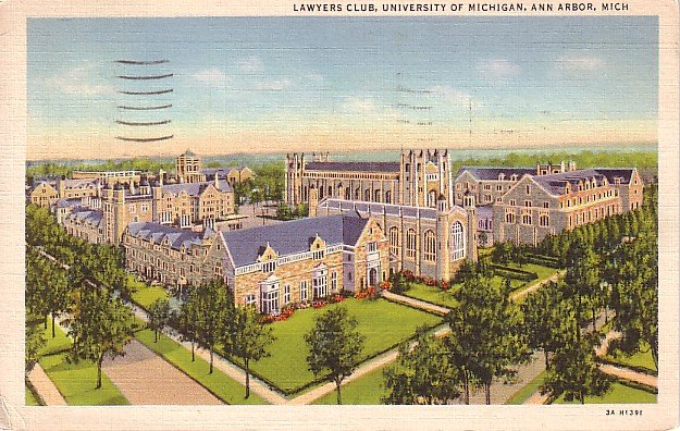 Lawyers Club at the University of Michigan in Ann Arbor, 1933 Curt Teich Linen Postcard - 0706