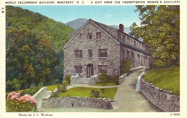 World Fellowship Building in Montreat North Carolina NC Linen Postcard - 0770