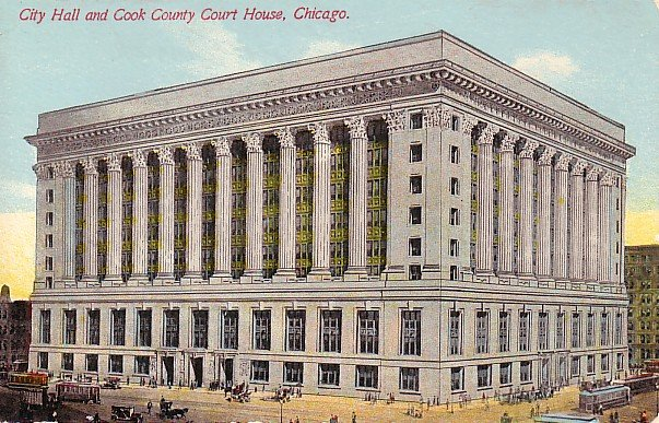 City Hall and Cook County Court House in Chicago Illinois IL Postcard - 0799