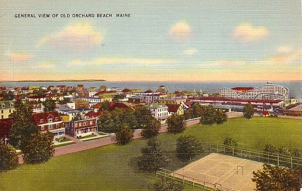 View  of Old Orchard Beach with Roller Coaster in Background, Maine ME Linen Postcard - 0865