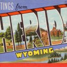 Greetings from Sheridan Wyoming 1941 Curt Teich Large Letter Linen Postcard - 0882