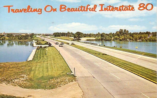 Traveling On Beautiful Interstate 80 Chrome Postcard - 0924