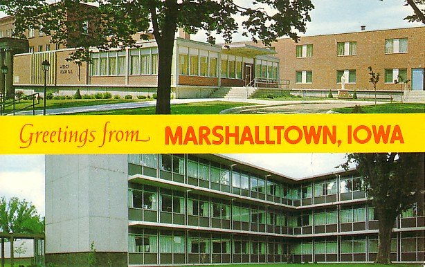Mercy and Evangelical Hospital in Marshalltown Iowa IA Chrome Postcard - 0985