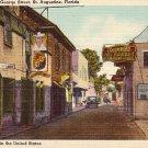 Quaint Old St. George Street in St. Augustine Florida Linen Postcard - 1078