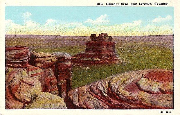 Chimney Rock near Laramie Wyoming WY Linen Postcard - 1120