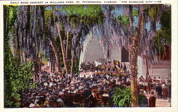 Band Shell in Williams Park at St. Petersburg Florida FL Linen Postcard - 1154