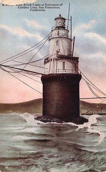 Mile Rock Lighthouse in San Francisco California CA Vintage Postcard - 1186
