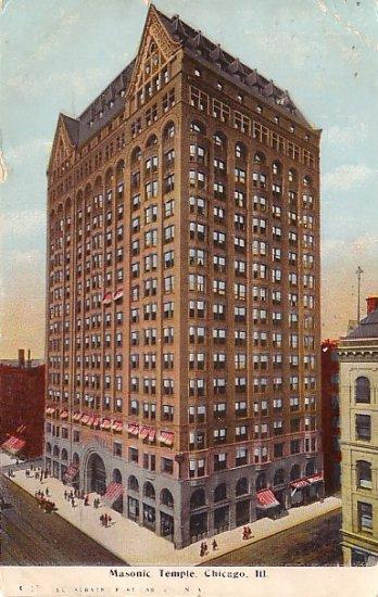 Masonic Temple in Chicago Illinois IL 1908 Vintage Postcard - 1274