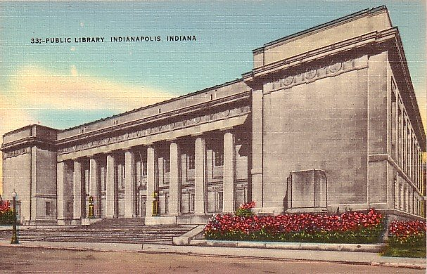 Public Library in Indianapolis Indiana IN Mid Century Linen Postcard - 1402
