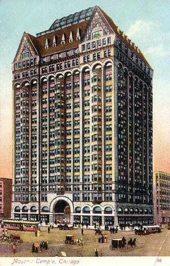 Masonic Temple  in Chicago Illinois IL Vintage Postcard - 1457