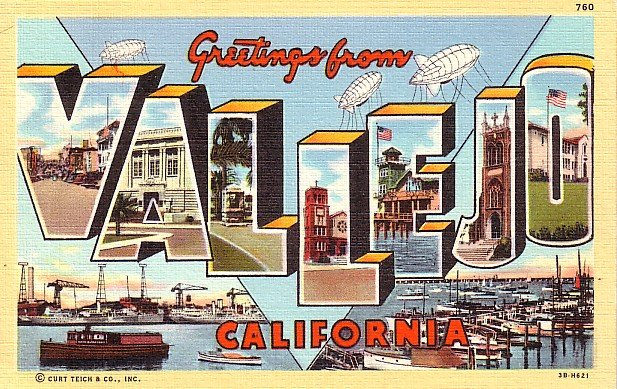 Greetings from Vallejo California 1943 Large Letter Curt Teich Linen Postcard - 1461