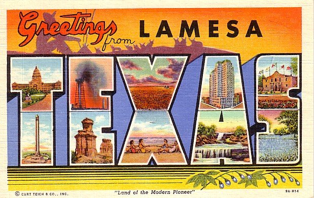 Greetings from Lamesa Texas TX 1939 Curt Teich Large Letter Postcard - 1463