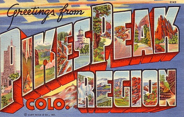 Greetings from Pikes Peak Region Colorado CO 1938 Curt Teich Large Letter Postcard - 1466